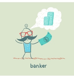 banker with the dollar thinks about money vector image