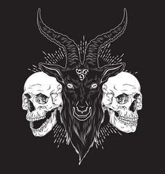 baphomet demon goat head and human skulls hand vector image