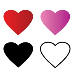 Basic Red Heart symbol shape outline vector