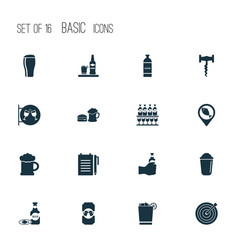 Beverages icons set with shaker record an order vector