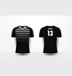 Black and white stripe sport football t-shirt vector
