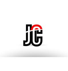 Black white alphabet letter jc j c logo icon vector