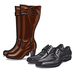 boots and shoes vector image
