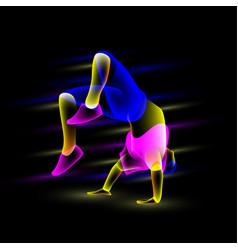 Break dancer doing back flip vector
