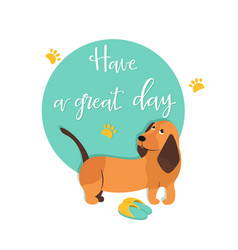 bright card with cute hound and text vector image