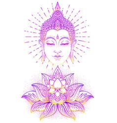 Buddha face over ornate mandala round pattern vector