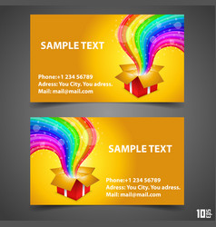 Business card open gift with rainbow vector