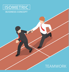 Businessman passing baton in relay race vector