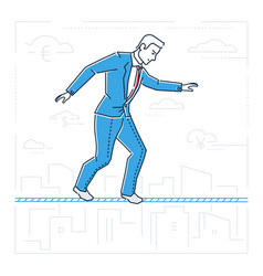 businessman walking on a cable - line design style vector image