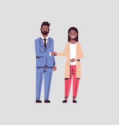Businesspeople man woman handshaking african vector