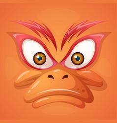 Cartoon evil face duck on the grey background vector