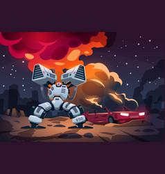 Cartoon game war alien robots battle landscape vector