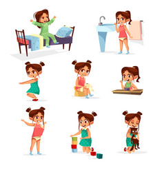Cartoon girl daily routine activity set vector