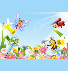 Cartoon insects on flower field vector
