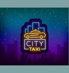 city taxi neon logos concept template luminous vector image