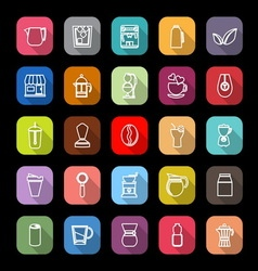 Coffee and tea line icons with long shadow vector image