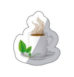 Color coffee cuppa with steam and leaves in the vector