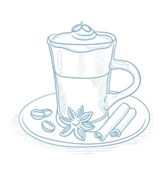 Cup of coffee with cinnamon vector