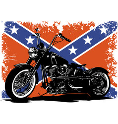Custom motorbike with flag in background vector