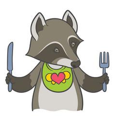 Cute cartoon raccoon holding a knife and fork vector