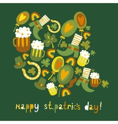 Cute colorful StPatricks day background vector image
