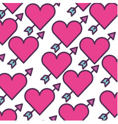 cute heart love with arrow pattern vector image