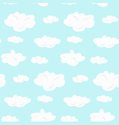 cute seamless pattern with white clouds on blue vector image