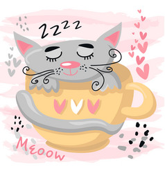 Cute sleeping cat baanimal nursery vector