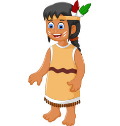 cute woman indian tribal cartoon vector image