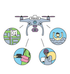Drone for police with police mark on his front vector