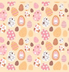 easter egg seamless pattern cute rabbit eggs vector image