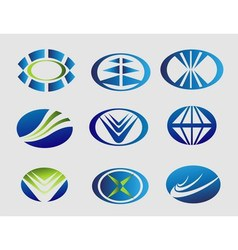 Elipse logo oval symbol set vector