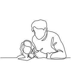 Father and small daughter writing letter to santa vector