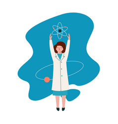 female scientist physicist character wearing white vector image