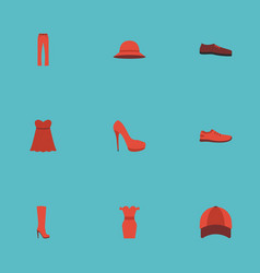 Flat icons boots elegant headgear heeled shoe vector