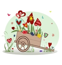 Floral arrangement from hearts in the cart vector image