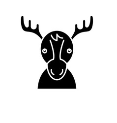 funny deer black icon sign on isolated vector image