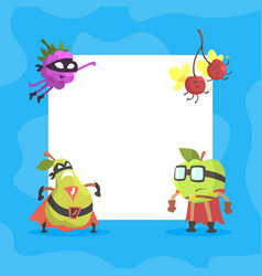 funny fruits characters with blank banner cute vector image