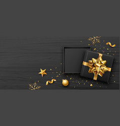 gift box and gold bow ribbon banners design vector image