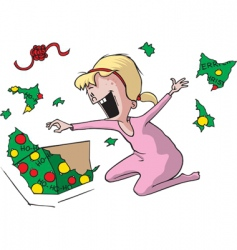girl at Christmas vector image