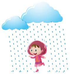 Girl in pink raincoat standing in the rain vector