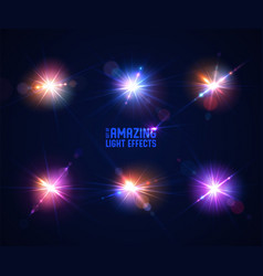 Glowing lens flares set beautiful glare effect vector