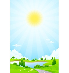 Green landscape with lake trees and clouds vector image