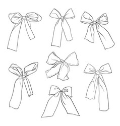 hand drawn bow-knots vector image