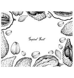 Hand drawn frame of luk rakam and etrog fruits vector