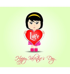 Happy valentines day with kids and heart vector