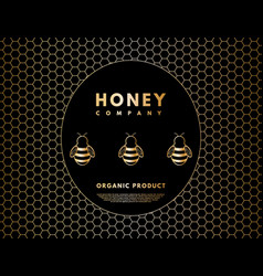 Honey and bee logo for company label background vector