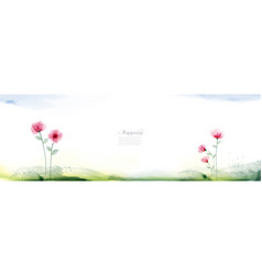 horizontal background with floral watercolor vector image