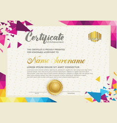 Horizontal certificate template with triangle vector