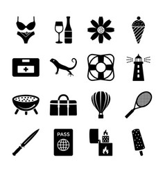 Island and beach solid icons set vector